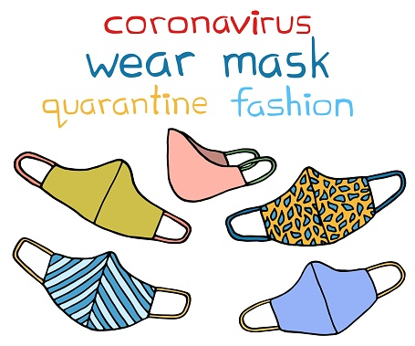 Vector set of face masks. Stylish medical and handmade masks with beautiful pattern. Mask respirators protecting from virus, bacteria, infection, covid-19. Coronavirus quarantine fashion illustration.