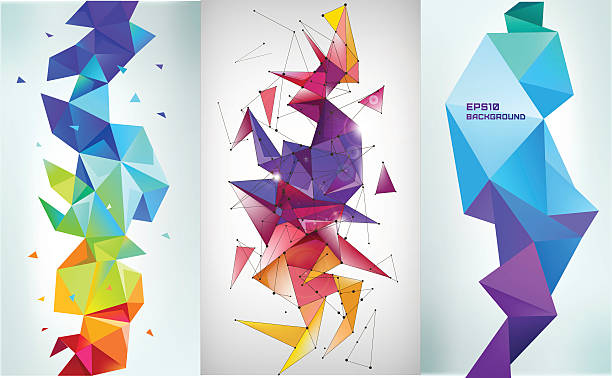 Vector set of faceted 3d crystal colorful shapes, banners. vector art illustration