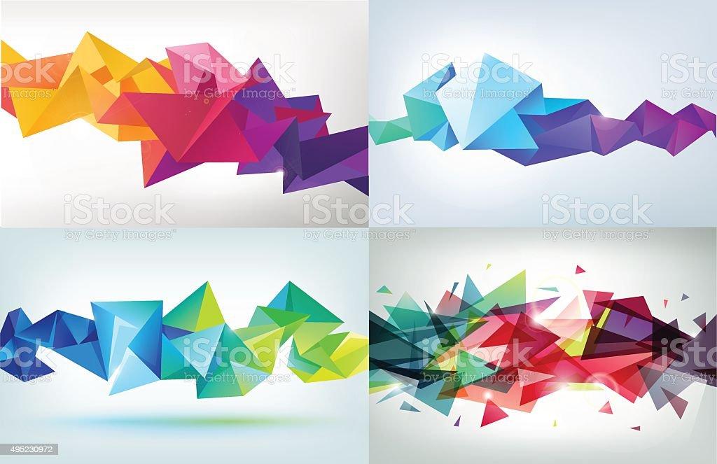 Vector set of faceted 3d crystal colorful shapes vektör sanat illüstrasyonu