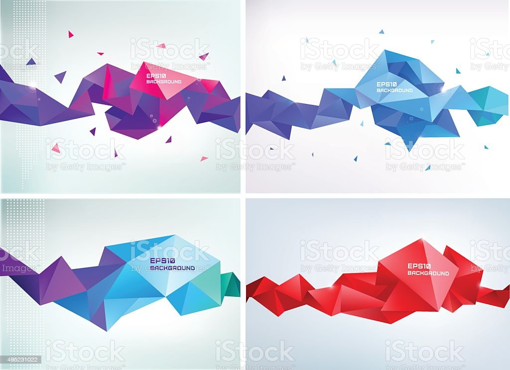 Vector set of faceted 3d crystal colorful shapes vector art illustration