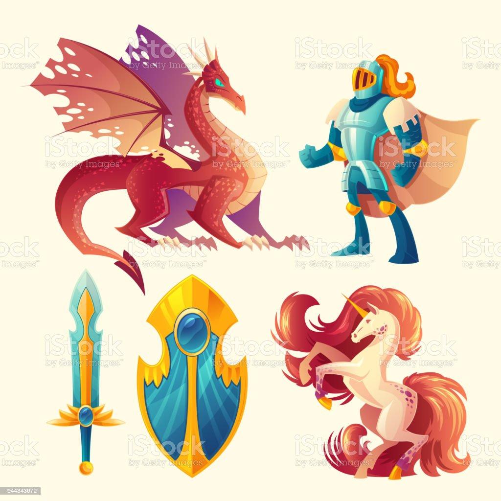 Vector set of fantasy game design objects vector art illustration