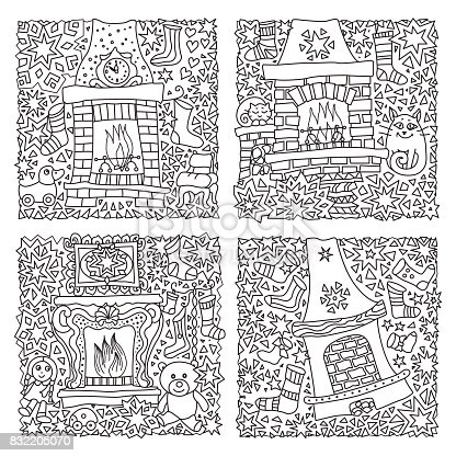 Vector set of fantasy illustration. Fairy tale house, fire place with stocking for Christmas, fir tree.  Hand drawn sketch snowflakes. T-shirt print, cards. Coloring book page for adults and children. Black and white New Year greeting cards