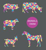 vector set of farm animals cow, sheep, goat, pig, horse.