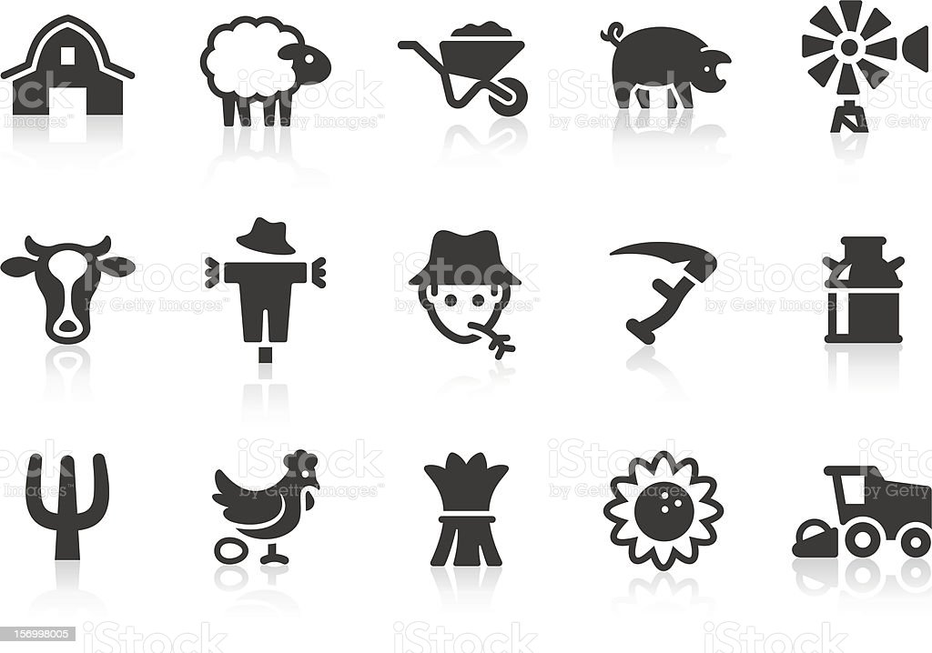 Vector set of farming-related icons vector art illustration