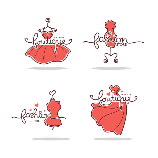 vector set of fashion boutique and store logo, label, emblems with doodle line art dresses and lettering composition - butik stock illustrations