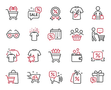 Vector Set of Fashion icons related to Buyer think, Sale gift and Discount tags. Vector