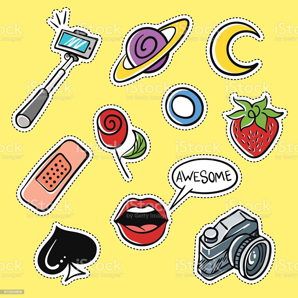 Vector set of fashionable patches: selfie stick, lips vector art illustration