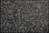 Line art vector hand drawn doodle cartoon set of fastfood objects and symbols