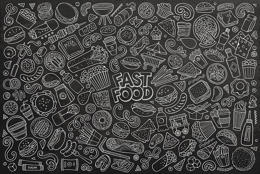 Vector set of Fast food objects and symbols