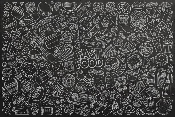 vektorsatz von fast-food-objekten und -symbolen - schnellkost stock-grafiken, -clipart, -cartoons und -symbole
