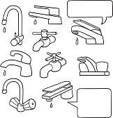 vector set of faucet