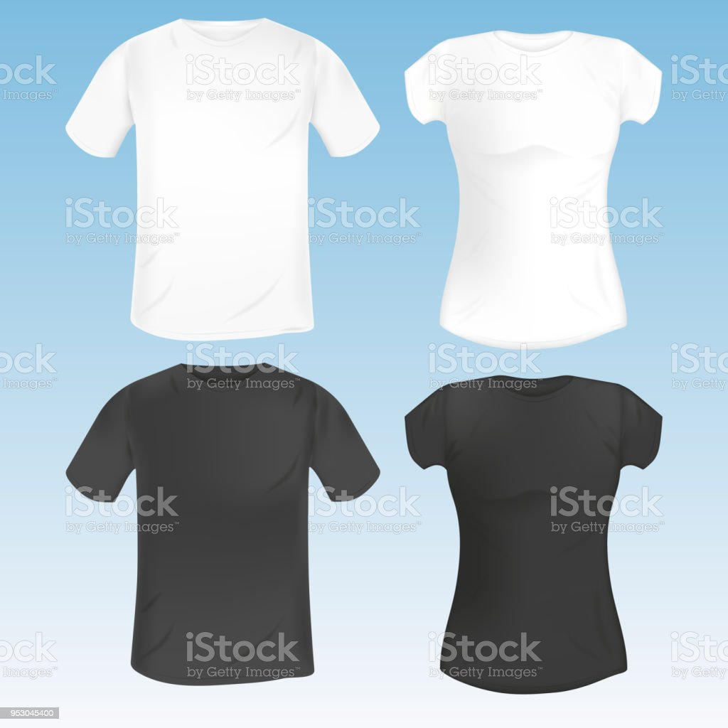 Vector Set Of Female And Male Tshirt Template Black And White