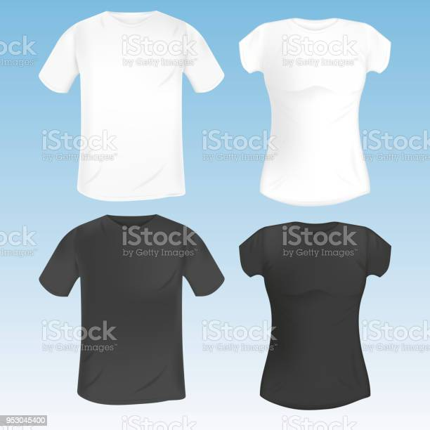 Vector Set Of Female And Male Tshirt Template Black And White Realistic Mock Up Stock Illustration Download Image Now Istock