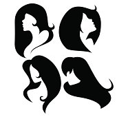 Vector Set of Female Cameo Silhouettes