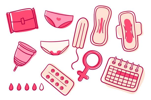 illustrazioni stock, clip art, cartoni animati e icone di tendenza di vector set of female hygiene products. menstrual cycle. woman critical days. set of women's means personal hygiene vector illustration. menstrual cup, sanitary napkin, tampon - mestruazione