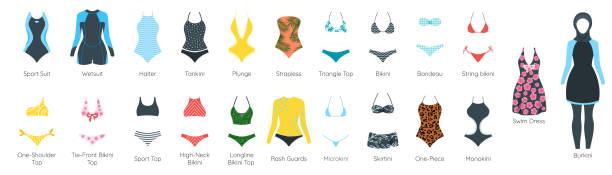 Vektor-Satz des weiblichen Badeanzugs – Vektorgrafik