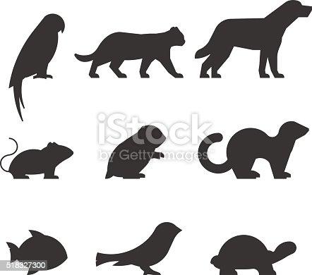 Vector set of figures of pets.