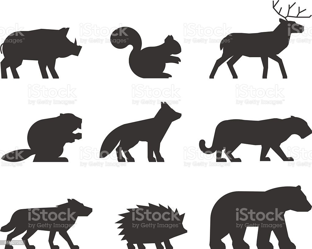 Vector set of figures of wild animals. vector art illustration