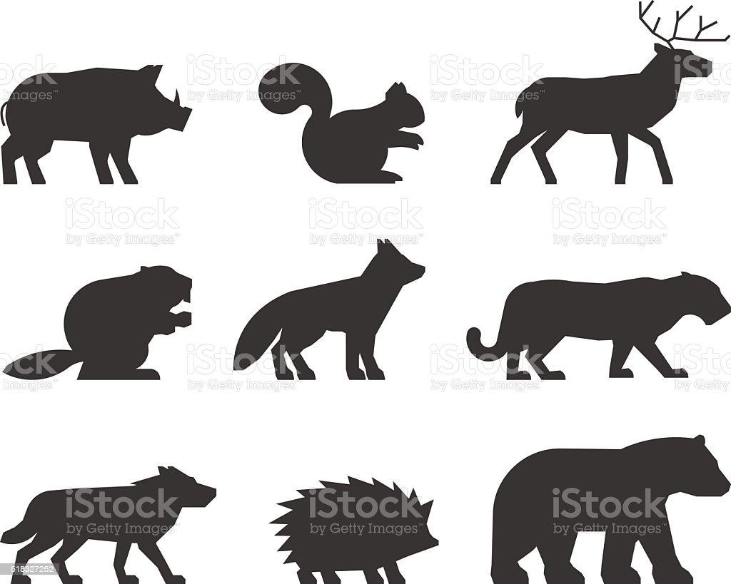 Vecteur ensemble de silhouettes d'animaux sauvages. - Illustration vectorielle