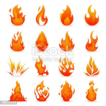 istock Vector set of fire and flame icons. Colorful Flames in the Flat Style. Simple, Icons Bonfire 883161008