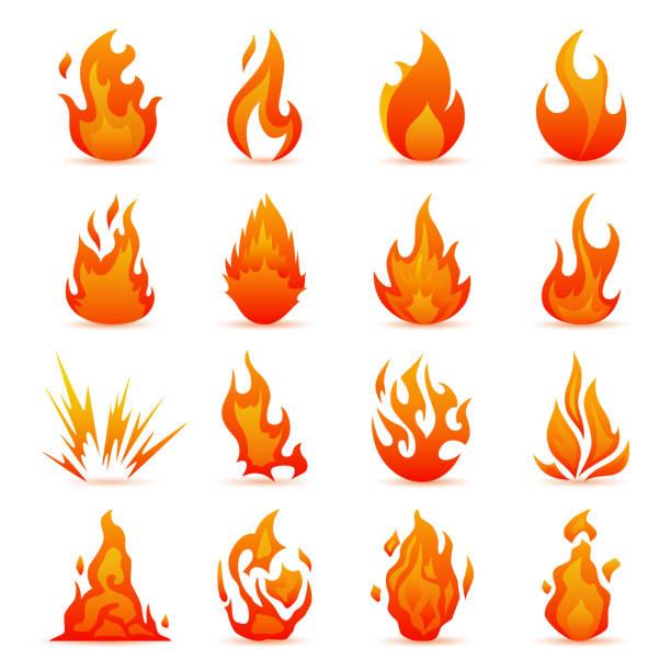 vektor-set von feuer und flamme icons. bunte flammen im flachen stil. einfache symbole lagerfeuer - feuer stock-grafiken, -clipart, -cartoons und -symbole