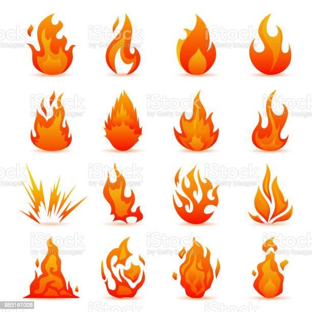 Ensemble De Vecteur Dicônes De Feu Et Des Flammes Flammes Colorées Dans Le Style De Plat Simple Icônes Bonfire Vecteurs libres de droits et plus d'images vectorielles de Abstrait