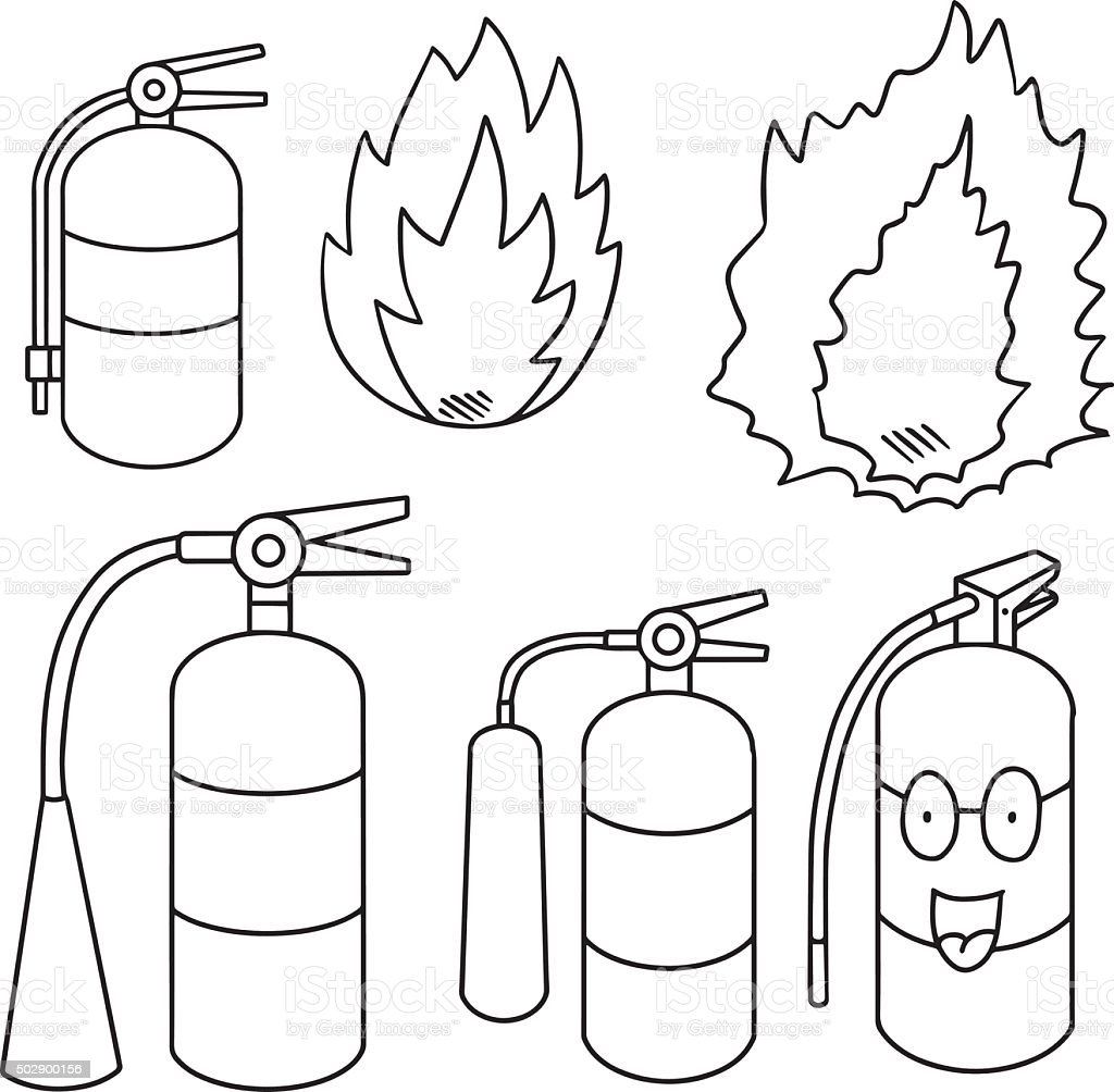 Vector set of fire extinguisher stock vector art more for Fire extinguisher coloring page