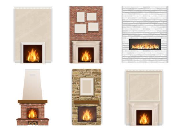 ilustrações de stock, clip art, desenhos animados e ícones de vector set of fireplace - braseiro