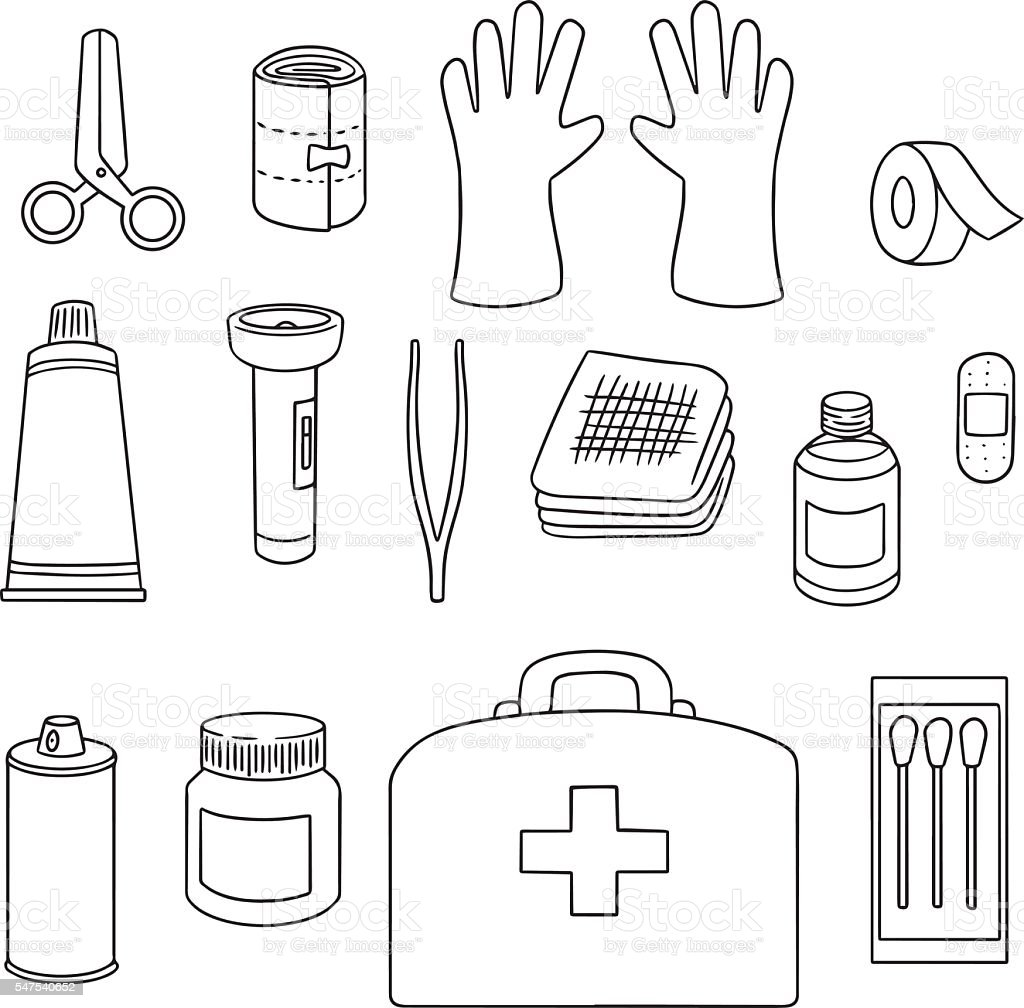 Free Coloring Pages About First Aid: Vector Set Of First Aid Kit Stock Illustration