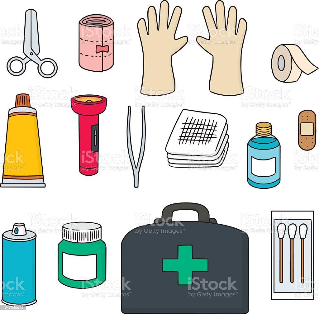 vector set of first aid kit vector art illustration