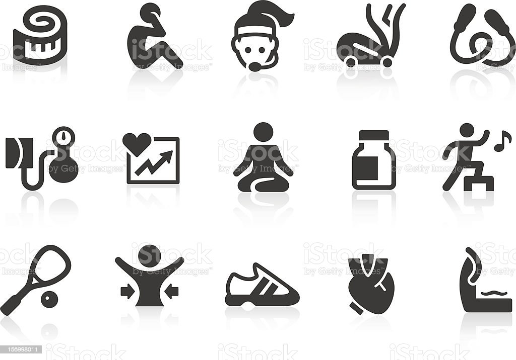 Vector set of fitness and exercise icons vector art illustration