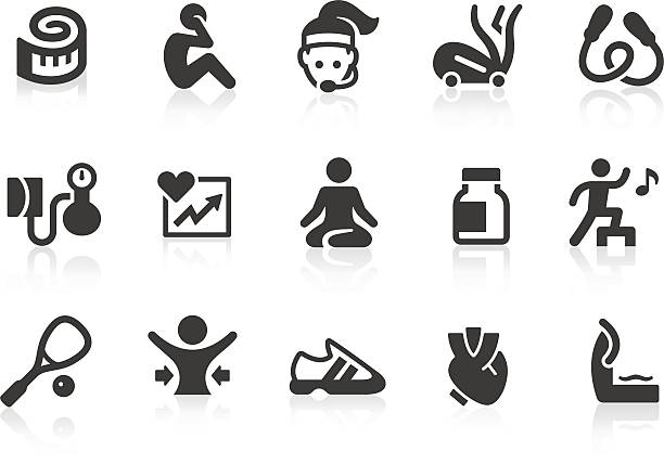 ilustrações, clipart, desenhos animados e ícones de vector conjunto de ícones de ginástica e academia de ginástica - personal trainer