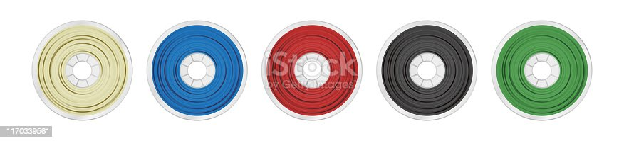 Set of natural white, blue, red, black and green plastic material pla, abs, petg, pc, asa or pa for a 3D printer. Icons are isolated on a white background.