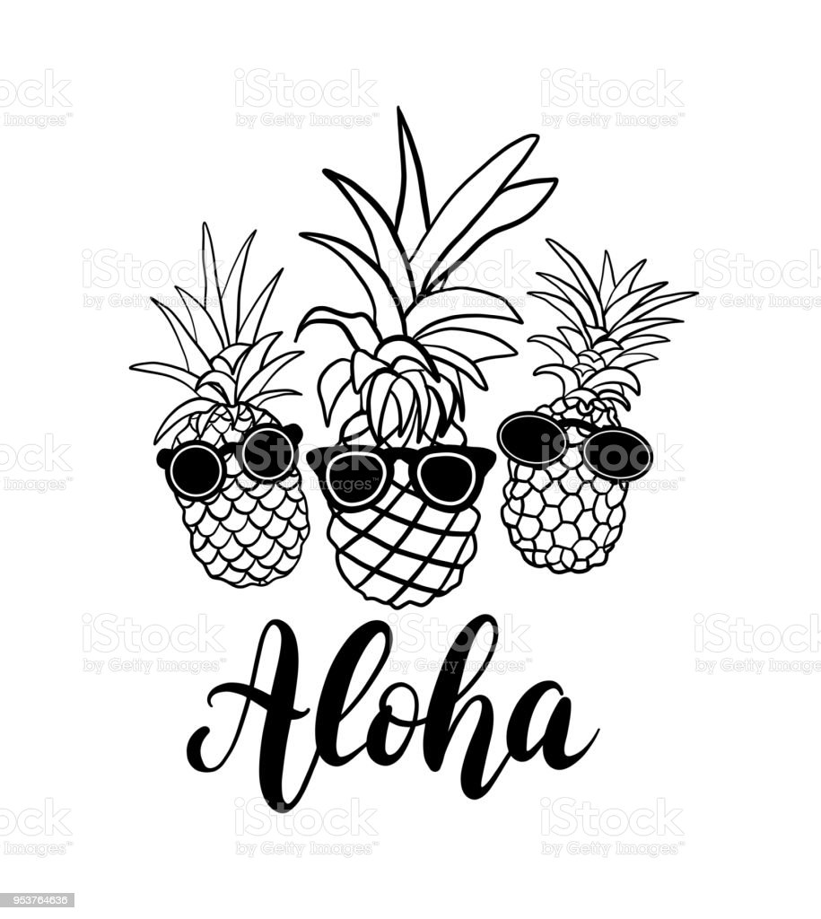 Vector Set Of Five Pineapple Fruit Tropical Summer
