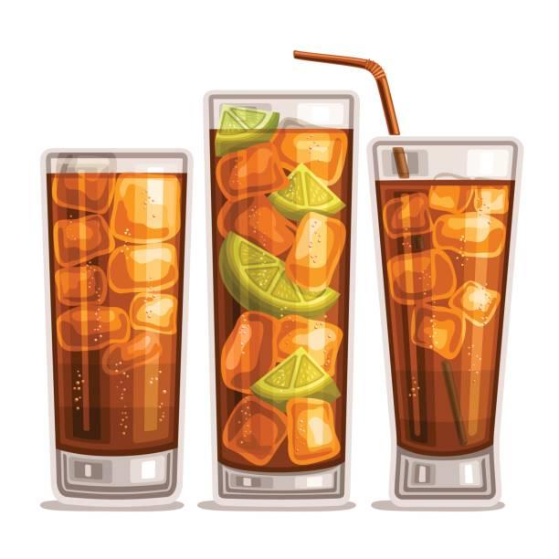 ilustrações, clipart, desenhos animados e ícones de vetor definido de bebidas gaseificadas - tea drinks