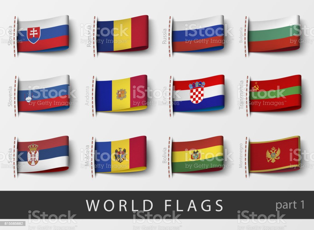 Vector set of flag labels of all countries vector art illustration