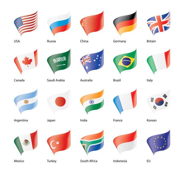 ilustraciones, imágenes clip art, dibujos animados e iconos de stock de conjunto de vector de banderas del g20 - bandera de argentina