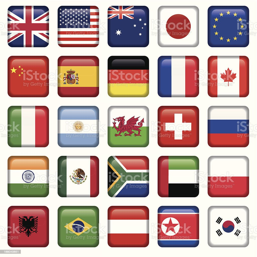 Vector set of Flags world top states royalty-free stock vector art