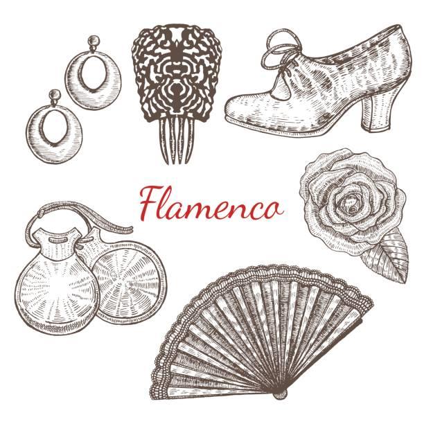 stockillustraties, clipart, cartoons en iconen met 6.06 flamenco - castagnetten