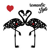 Vector set of flamingos silhouettes isolated on white background. Exotic bird with romantic hand drawn lettering and floral doodles. Black and white. Design for decoration, poster, card, invitation.