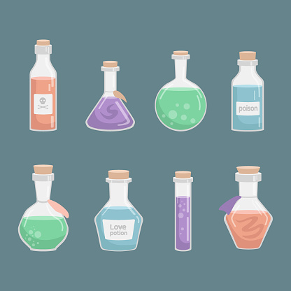 Vector set of flasks of various shapes. Vessels for liquid. Colored Halloween elements