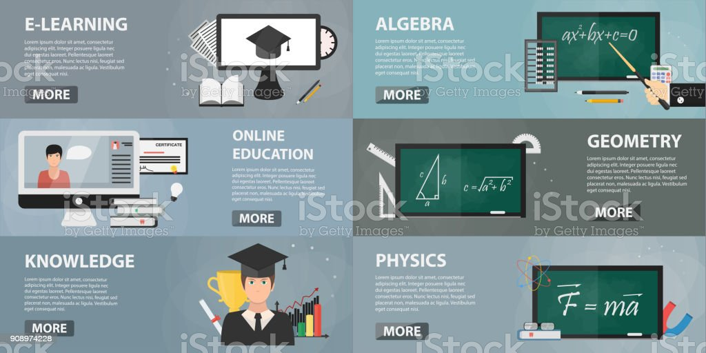 Vector set of flat banners of education for websites. Concept of online education, private lessons and studying. Collection of school elements in flat design. vector art illustration