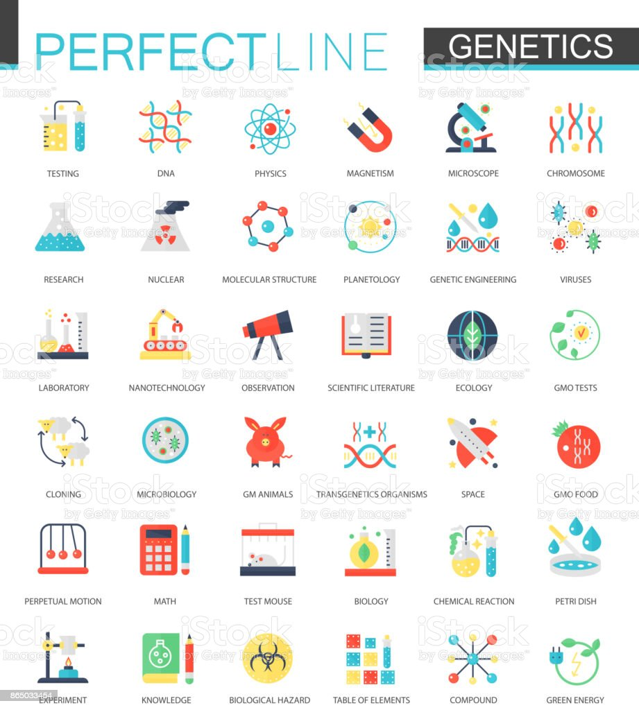 Vector set of flat Biochemistry genetics icons. royalty-free vector set of flat biochemistry genetics icons stock illustration - download image now