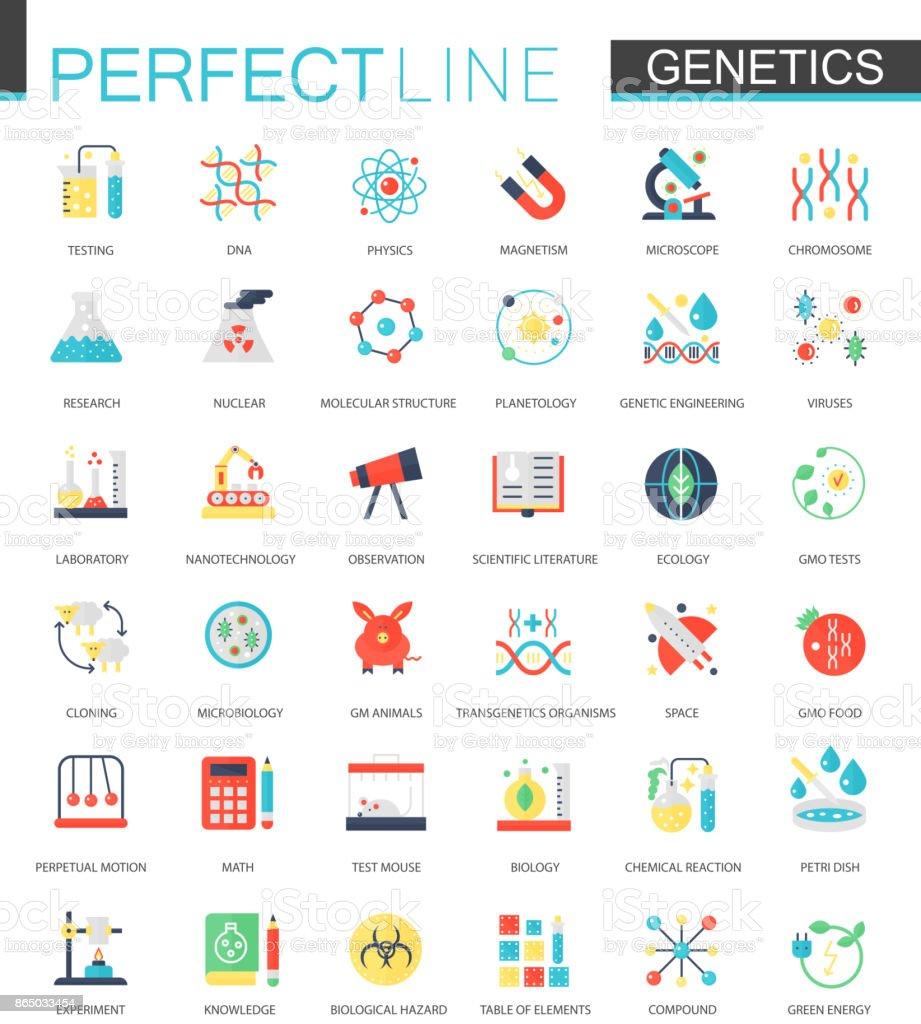 Vector set of flat Biochemistry genetics icons.