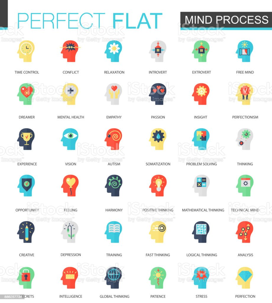 Vector set of flat Brain and Mind process icons. vector art illustration