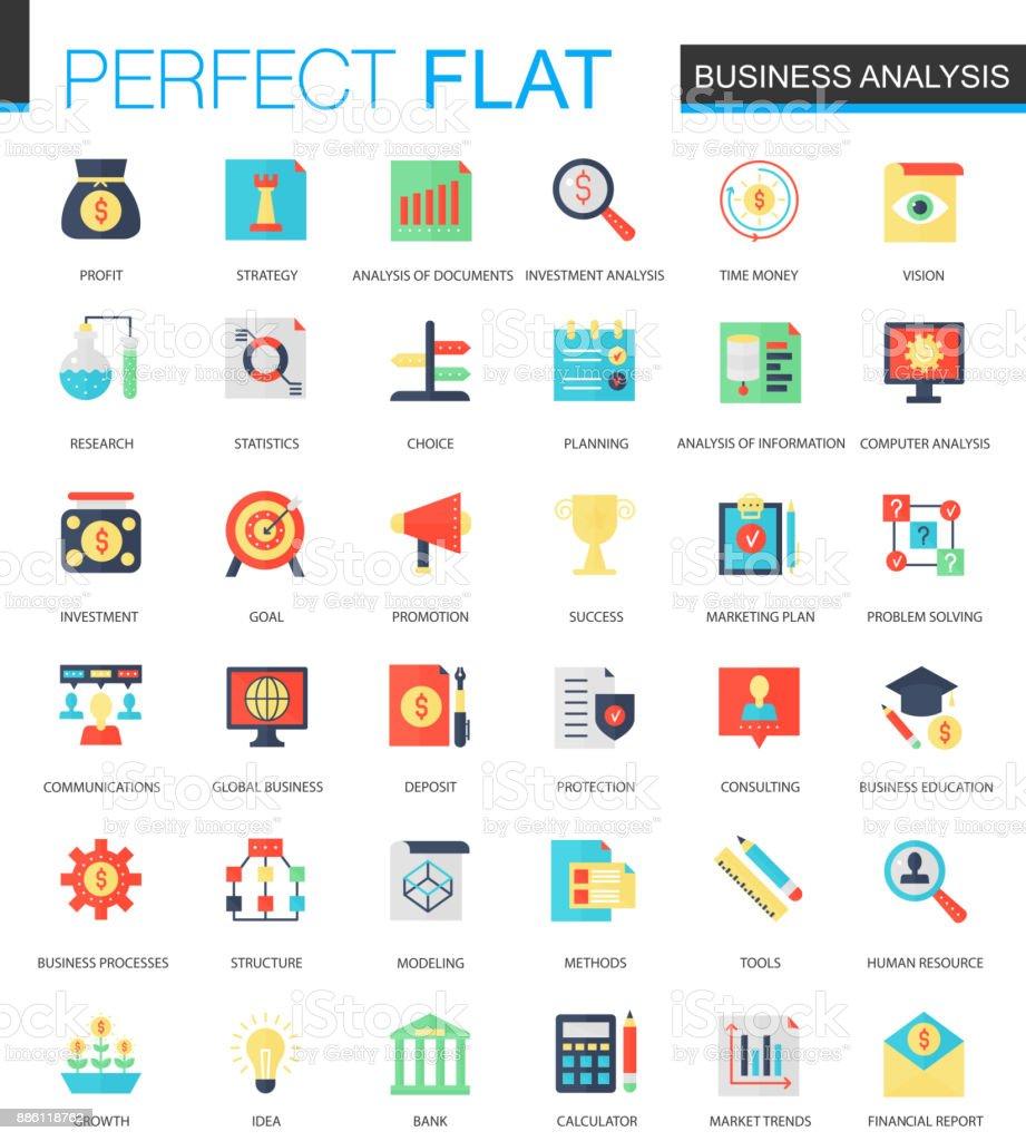 Vector set of flat Business analytics icons. vector art illustration