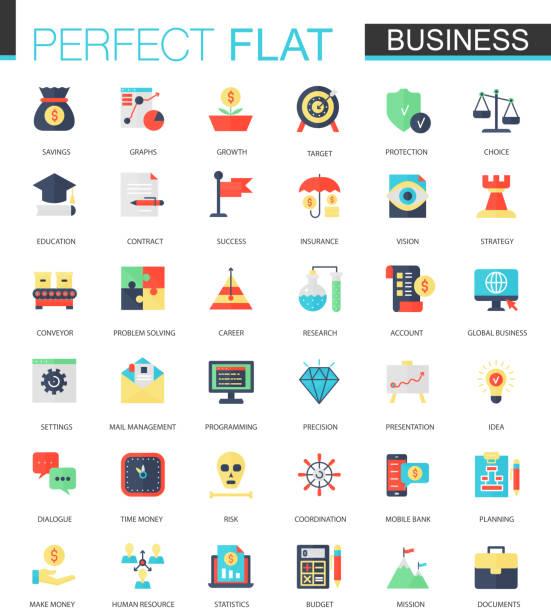 Ensemble de vecteurs de plat icônes Business - Illustration vectorielle