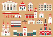 Vector set of flat city buildings to create and generate tourist map.