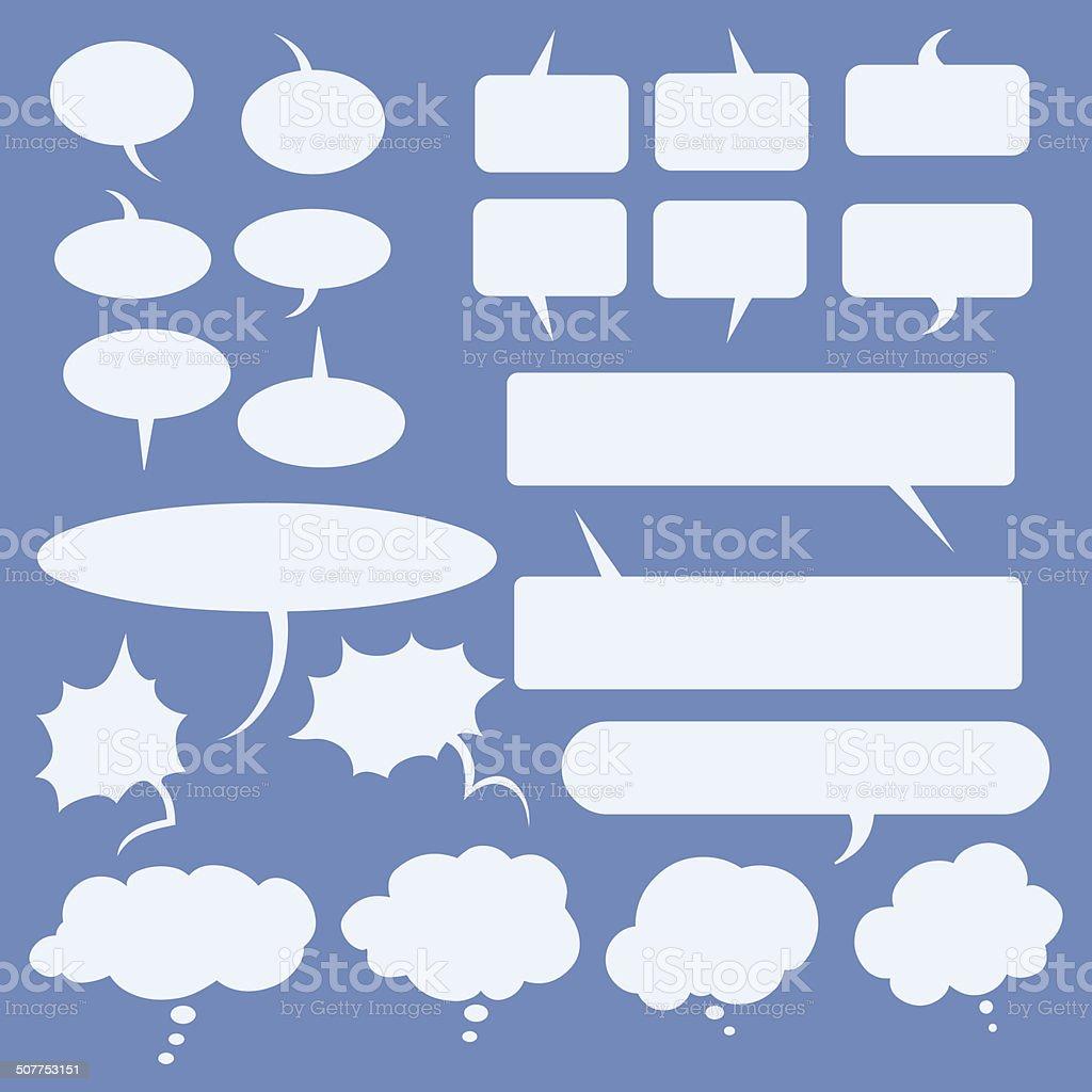 Vector Set of Flat Comics  Bubbles. Talk and Think vector art illustration