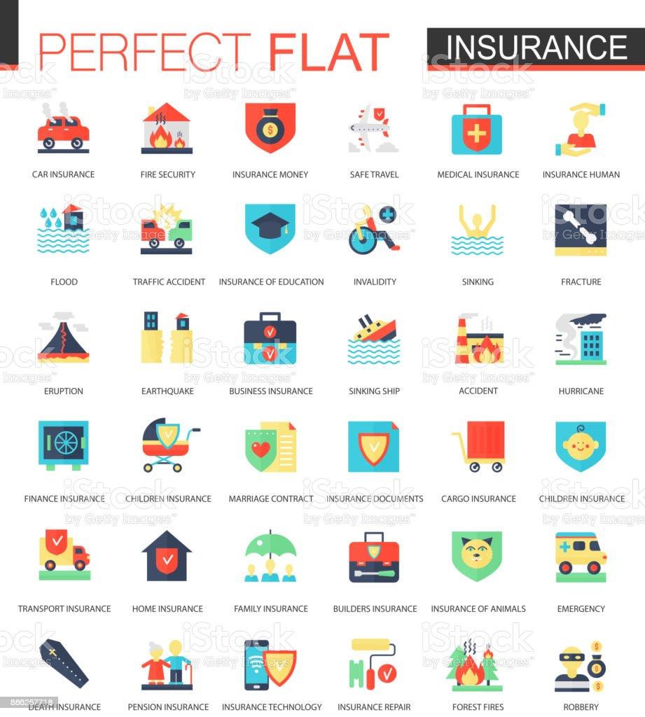 Vector set of flat Insurance icons vector art illustration